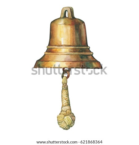 Illustration of old ship's bell. Hand drawn watercolor painting on white background.