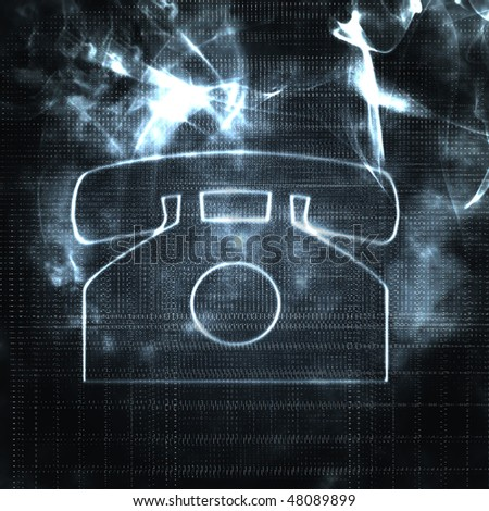illustration of old style phone in the smoke