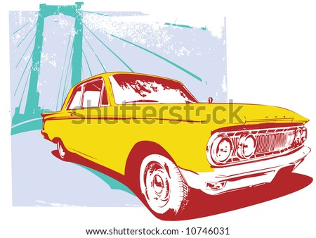 Illustration of old vintage custom collector's car on grunge  urban background - stock photo
