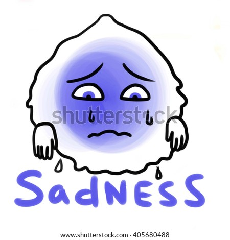 Illustration of one of the basic human emotions - sadness. Blue creature expressing sadness: crying with it's lips corners pulled down  isolated - stock photo