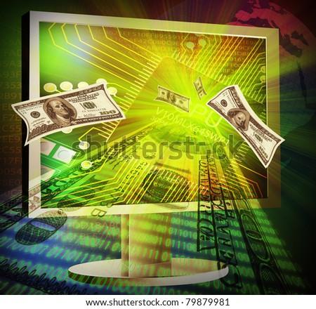 Illustration of online making money concept - stock photo