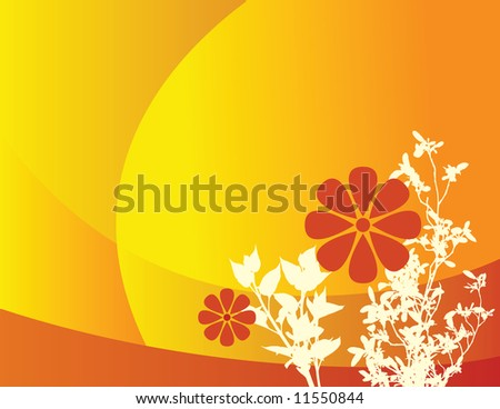 Illustration of orange, abstract floral background with a space for text.