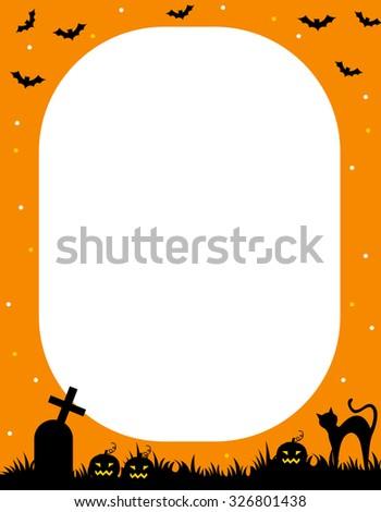 Illustration of orange and black halloween frame / border - stock photo