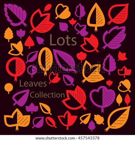 illustration of orange and red tree leaves isolated on white background. Set of simple drawn nature design elements, graphic symbols made in ecology theme. - stock photo