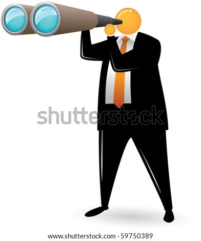 Illustration of Orange Head Man Using Binocular - stock photo