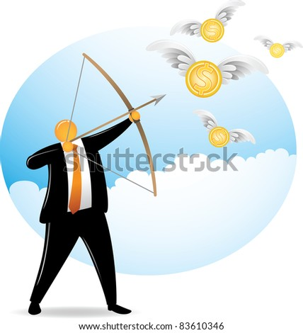 Illustration of Orange Head Shooting Flying Dollar - stock photo