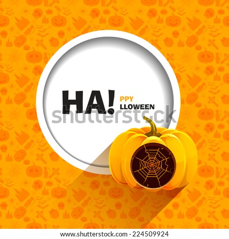 Illustration of orange seamless patterns for a happy Halloween party. Realistic Halloween pumpkin with a carved web of it. Use for brochures, printed materials, banner, greeting, card. - stock photo