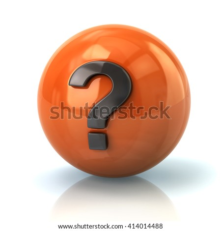 Illustration of orange sphere with the question mark isolated on white background - stock photo