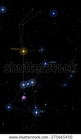 illustration of orion constellation, with the figure drawn and labels of main stars