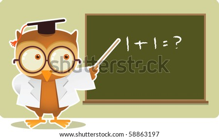 Illustration of Owl teaching math - stock photo