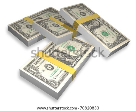 illustration of packages of notes of dollars