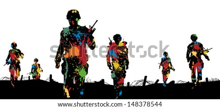 Illustration of paint splattered soldiers walking on patrol - stock photo