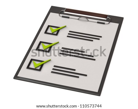 Illustration of paper clipboard with check list - stock photo