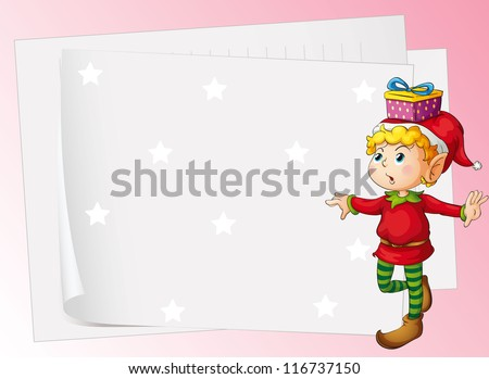 illustration of paper sheets and boy on a pink background