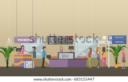 Illustration of passengers going through check-in counters at the airport. Ticket counter, baggage check-in, metal detector. Airport terminal concept design element in flat style.