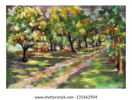 Illustration of pastel Park - stock photo