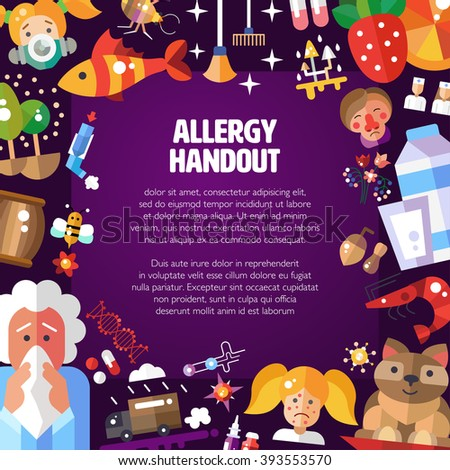 Illustration of pattern with flat design allergen icons and infographics elements. Allergy handout. - stock photo