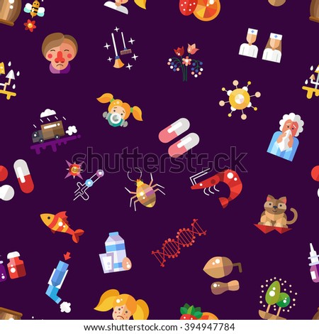 Illustration of pattern with flat design allergy and allergen icons and infographics elements - stock photo