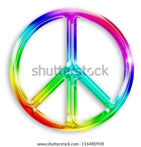 illustration of peace symbol isolated on white background - stock photo