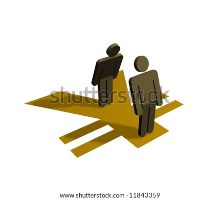 Illustration of people standing on a yen symbol - stock photo