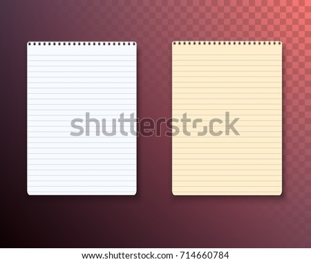 Illustration Photorealistic Paper Notebook Template Vector Stock