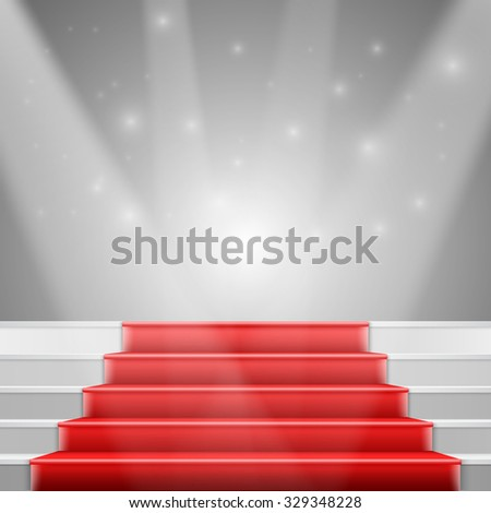 Illustration of Photorealistic Stairs with Red Carpet and Bright Luxury Event Background - stock photo