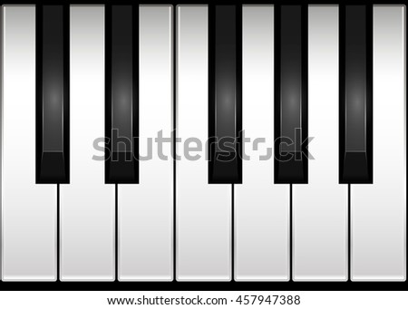 Illustration of piano keyboard. One octave.