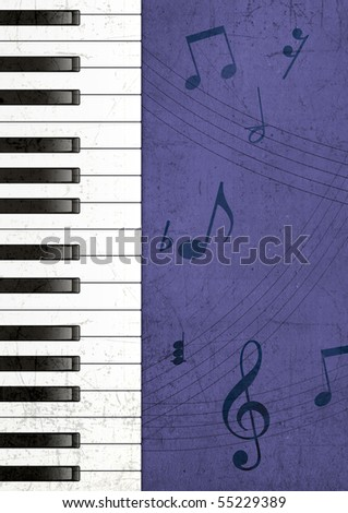 Illustration of Piano Keys and Musical Notes Over Textured Background