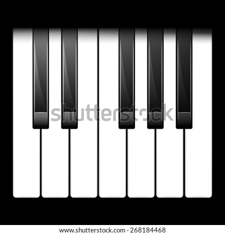 illustration of piano keys. One octave. top view