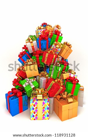 illustration of pile of colorful gift for holiday celebration - stock photo