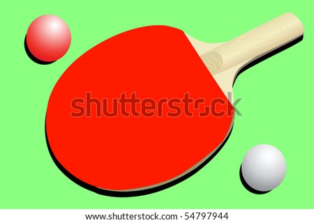 illustration of ping pong racket and balls