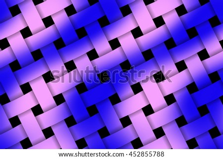 Illustration of pink and dark blue weaved pattern - stock photo