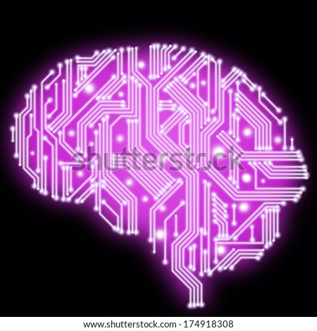 Illustration of pink human brain in form of circuit board on black background - stock photo