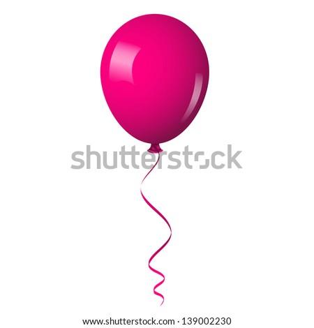 Illustration of pink shiny balloon - stock photo