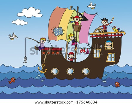 illustration of pirate ship with funny children - stock photo