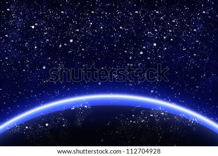 Illustration of planet in the space and stars - stock photo