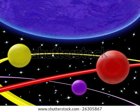 Illustration of planets and orbits in space - stock photo