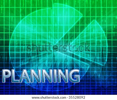 Illustration of planning budgeting finance and business pie chart - stock photo