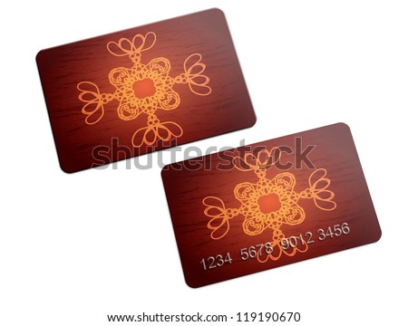Illustration of plastic card with ornament on white background. - stock photo
