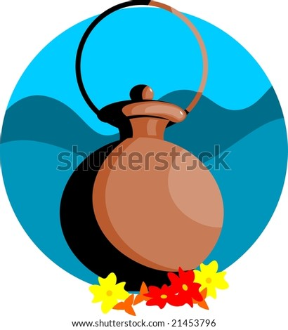 Illustration of pooja pot and flowers in blue background