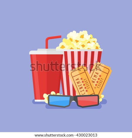 Illustration of popcorn, soda takeaway, 3d cinema glasses and tickets. Cinema design in flat style.