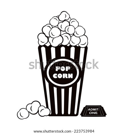 Illustration of popcorn with admit one cinema ticket - stock photo