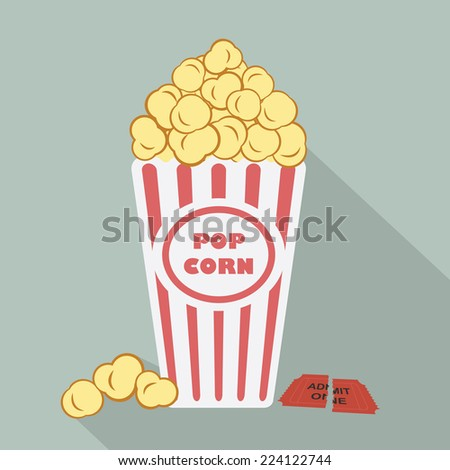 Illustration of popcorn with torn admit one cinema ticket - stock photo