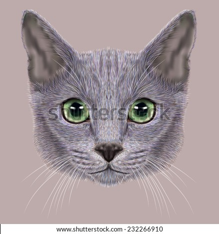 Illustration of Portrait of Russian Blue Cat. Cute Domestic Cat eith green eyes. - stock photo