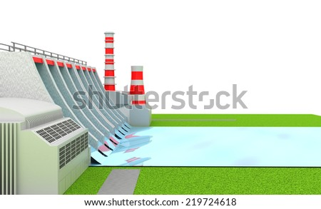 Illustration of Power hydro station isolated on white - stock photo