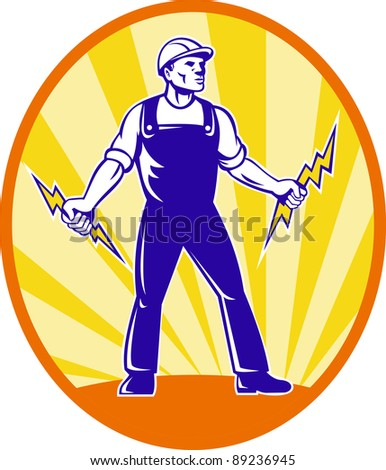Illustration of  power lineman electrician repairman worker holding electric lightning bolt viewed from front with  sunburst in background set inside ellipse done in retro style.