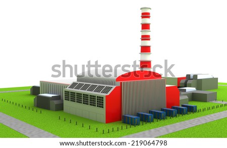Illustration of Power station isolated on white - stock photo