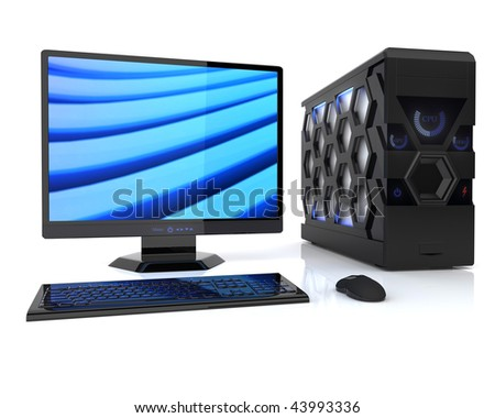 Illustration of powerful computer on reflective background
