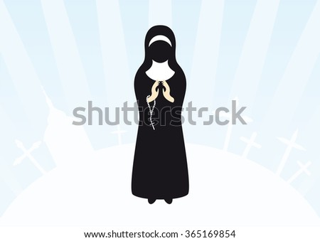 Illustration of praying nun. Christian background with a nun and holy icons. Clasped hands in prayer. - stock photo