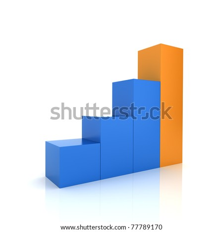 Illustration of progression with blue and orange bars (color collection)